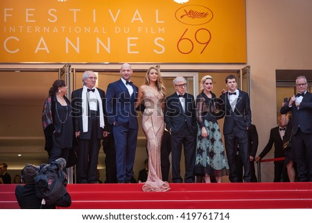 Cannes, France - 11 MAY 2016 - Corey Stoll, actress Blake Lively, director Woody Allen, actress Kristen Stewart and actor Jesse Eisenberg attend the screening  'Cafe Society' - 69 Cannes Film Festival - stock photo