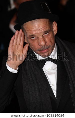 CANNES, FRANCE - MAY 23: Denis Lavant attends the 'Holy Motors' premiere during the 65th Annual Cannes Film Festival at Palais des Festivals on May 23, 2012 in Cannes, France. - stock photo