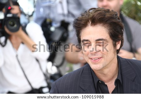 CANNES, FRANCE - MAY 23: Director Benicio Del Toro attends ' 7 Dias en la Habana' Photocal at Palais des Festivals on May 23, 2012 in Cannes, France. - stock photo
