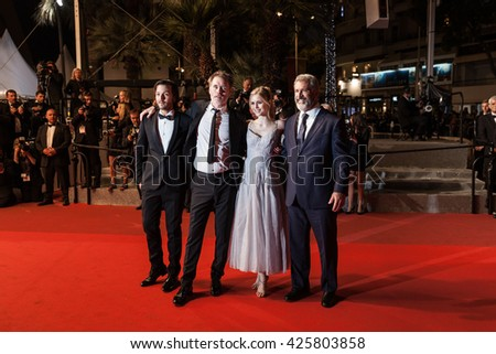 Cannes, France - 21 MAY 2016 - Director Jean-Francois Richet and actors, Mel Gibson, Erin Moriarty and Diego Luna attend the screening of 'Blood Father' at the annual 69th Cannes Film Festival