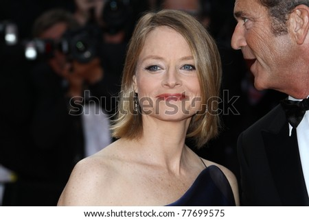 CANNES, FRANCE - MAY 17: Director Jodie Foster and Mel Gibson attends 'The Beaver' premiere at the Palais des Festivals during the 64th Cannes Film Festival on May 17, 2011 in Cannes, France. - stock photo