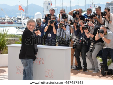 "CANNES, FRANCE - MAY 14, 2016: Director Steven Spielberg at the photocallThe BFG"" at the 69th Festival de Cannes."