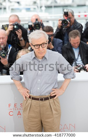 CANNES, FRANCE - MAY 11: Director Woody Allen attends the 'Cafe Society' photocall during the 69th annual Cannes Film Festival at Palais des Festivals on May 11, 2016 in Cannes - stock photo