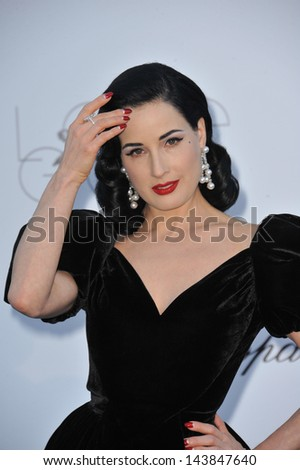 CANNES, FRANCE - MAY 23, 2013: Dita Von Teese at amfAR's 20th Cinema Against AIDS Gala at the Hotel du Cap d'Antibes, France  - stock photo