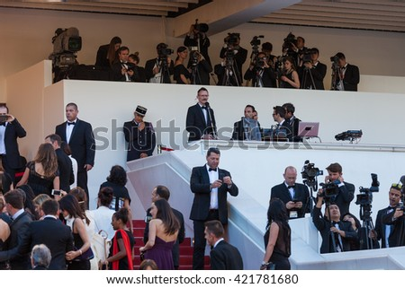 Cannes, France - 15 MAY 2016 - DJ of the red carpet premiere during the 69th annual Cannes Film Festival at the Palais des Festivals - stock photo