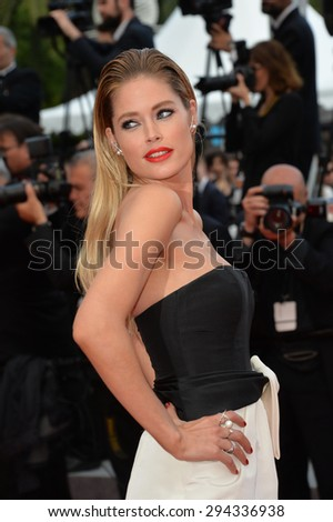 """CANNES, FRANCE - MAY 19, 2015: Doutzen Kroes at the gala premiere for """"Sicario"""" at the 68th Festival de Cannes. - stock photo"""