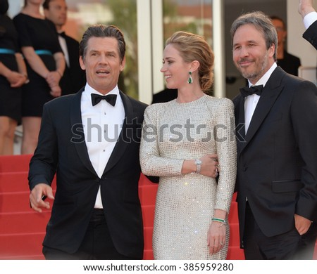 "CANNES, FRANCE - MAY 19, 2015: Emily Blunt, Josh Brolin & director Denis Villeneuve at the gala premiere for their movie ""Sicario"" at the 68th Festival de Cannes."