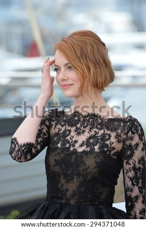 """CANNES, FRANCE - MAY 15, 2015: Emma Stone at the photocall for her movie """"Irrational Man"""" at the 68th Festival de Cannes. - stock photo"""