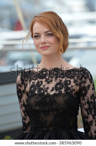 "CANNES, FRANCE - MAY 15, 2015: Emma Stone at the photocall for her movie ""Irrational Man"" at the 68th Festival de Cannes."