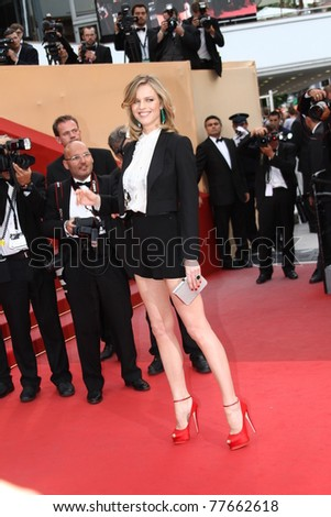 CANNES, FRANCE - MAY 18: Eva Herzigova attends the 'La Conquete' premiere during 64th Annual Cannes Film Festival at Palais des Festivals on May 18, 2011 in Cannes, France. - stock photo