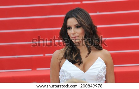 "CANNES, FRANCE - MAY 17, 2014: Eva Longoria at gala premiere of ""Saint-Laurent"" at the 67th Festival de Cannes.  - stock photo"