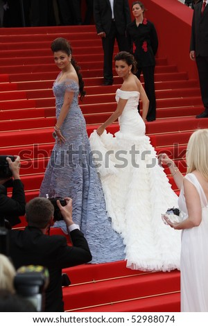 CANNES, FRANCE - MAY 12: Eva Longoria Parker and Aishwarya Rai attends the 'Robin Hood' Premiere at the Palais des Festivals during the 63rd Cannes Film Festival on May 12, 2010 in Cannes, France - stock photo