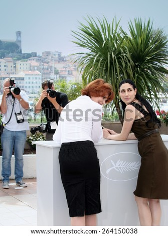 CANNES, FRANCE - MAY 21:  Fanny Ardant. Ronit Elkabetz attend the Hommage To Fanny Ardant photocall at the Palais De Festivals during the 62nd  Cannes Festival on May 21, 2009 in Cannes, France.  - stock photo