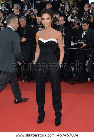 "CANNES, FRANCE - MAY 11, 2016: Former Spice Girl Victoria Beckham at the gala premiere of Woody Allen's ""Cafe Society"" at the 69th Festival de Cannes."