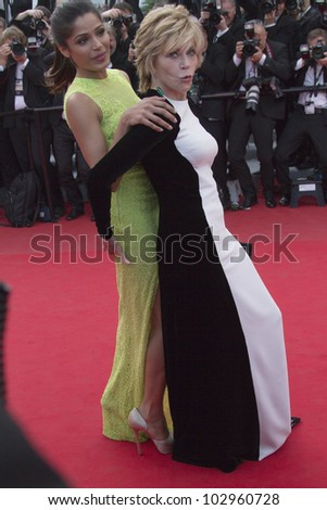 CANNES, FRANCE - MAY 17: Freida Pinto and Jane Fonda attends the 'De Rouille et D'os' Premiere during the 65th  Cannes Film Festival at Palais des Festivals on May 17, 2012 in Cannes, France. - stock photo