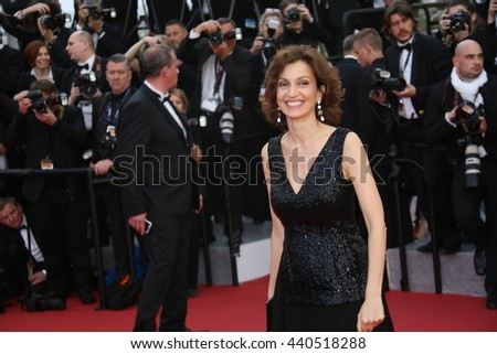 Cannes, France - 11 MAY 2016 - French minister of culture Audrey Azoulay attends the 'Cafe Society' premiere  during the 69th annual Cannes Film Festival - stock photo