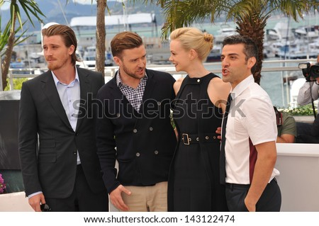 "CANNES, FRANCE - MAY 19, 2013: Garrett Hedlund, Justin Timberlake, Carey Mulligan & Oscar Isaac (right) at the photocall for ""Inside Llewyn Davis"" in competition at the 66th Festival de Cannes."