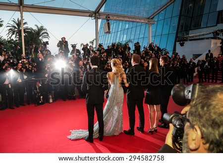 Cannes, France - May 16, 2015: Gus Van Sant, Naomi Watts, Matthew McConaughey and Chris Sparling attend the Premiere of 'The Sea Of Trees' during the 68th annual Cannes Film Festival on May 16, 2015 in Cannes, France. - stock photo