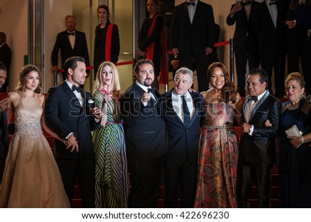 Cannes, France - 16 MAY 2016 - Harvey Weinstein, Robert de Niro and his wife Grace Hightower, Edgar Ramirez, Ana de Armas, Roberto Duran and Usher attend the 'Hands Of Stone' premiere