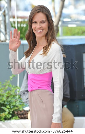 "CANNES, FRANCE - MAY 18, 2014: Hilary Swank at the photocall for her new movie ""The Homesman"" at the 67th Festival de Cannes."