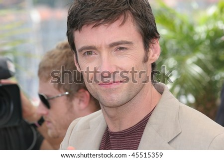 CANNES, FRANCE - MAY 22: Hugh Jackman attends a photocall promoting the film 'X-Men 3' at the Palais des Festivals during the 59th  Cannes Film Festival on May 22, 2006 in Cannes, France - stock photo