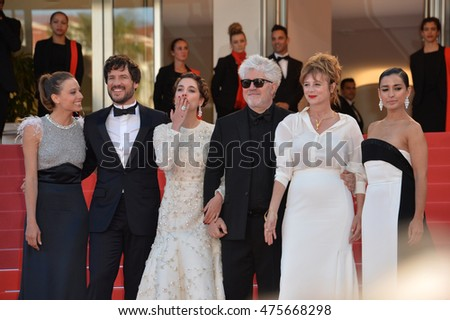 "CANNES, FRANCE - MAY 17, 2016: Inma Cuesta, Emma Suarez, director Pedro Almodovar, Adriana Ugarte, Daniel Grao & Michelle Jenner at the premiere of ""Julieta"" at the 69th Festival de Cannes."