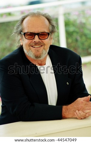 CANNES, FRANCE - MAY 22:  Jack Nicholson shouts as he poses for photographers during the photocall for  film 'About Schmidt' 22 May 2002 during the 55th Cannes film festival, France - stock photo