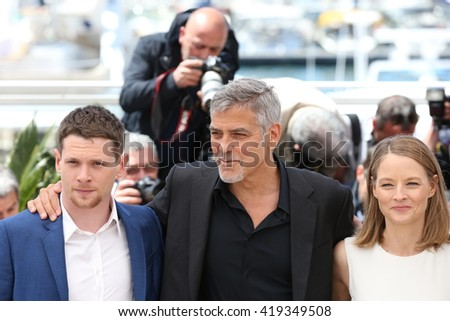 CANNES, FRANCE - MAY 12: Jack O'Connell, George Clooney, Jodie Foster and Julia Roberts,  'Money Monster' Photocall,69th Cannes Film Festival at Palais des Festivals on May 12, 2016 in Cannes, France. - stock photo