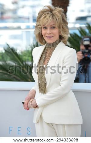 """CANNES, FRANCE - MAY 20, 2015: Jane Fonda at the photocall for her movie """"Youth"""" at the 68th Festival de Cannes. - stock photo"""