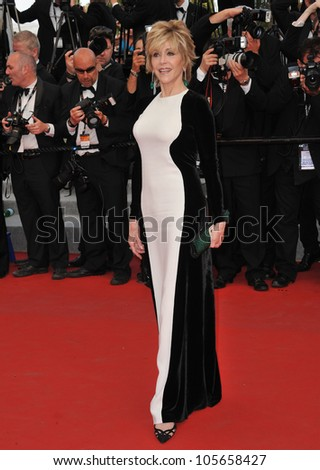 "CANNES, FRANCE - MAY 17, 2012: Jane Fonda at the premiere of ""Rust & Bone"" in competition at the 65th Festival de Cannes. May 17, 2012  Cannes, France"