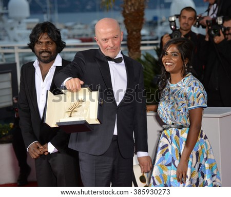 CANNES, FRANCE - MAY 24, 2015: Jaques Audiard - winner of the Palme D'Or for Dheepan - at the winners' photocall at the 68th Festival de Cannes.