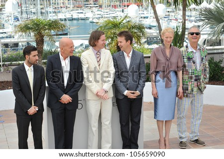 "CANNES, FRANCE - MAY 16, 2012: Jason Schwartzman, Bruce Willis, director Wes Anderson, Edward Norton, Tilda Swinton & Bill Murray at the photocall for ""Moonrise Kingdom"". May 16, 2012  Cannes, France"