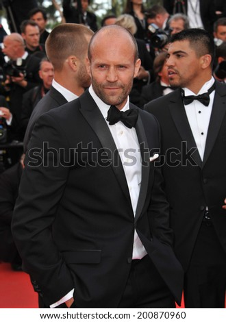 "CANNES, FRANCE - MAY 18, 2014: Jason Statham promotiing his new movie ""The Expendable 3"" at the 67th Festival de Cannes."