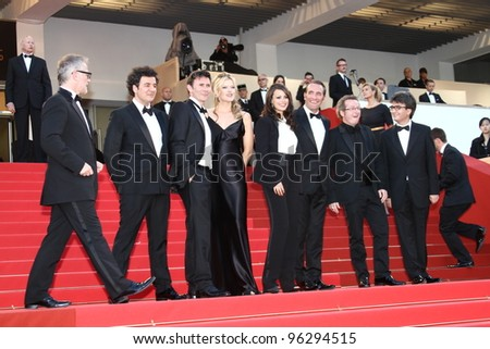 CANNES, FRANCE - MAY 15: Jean Dujardin, Alexandra Lamy, Michel Hazanavicius, Berenice Bejo attend the 'The Artist' during the 64 Cannes Film Festival at Palais on May 15, 2011 in Cannes, France - stock photo