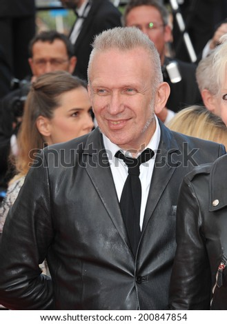 "CANNES, FRANCE - MAY 17, 2014: Jean Paul Gaultier at gala premiere of ""Saint-Laurent"" at the 67th Festival de Cannes.  - stock photo"