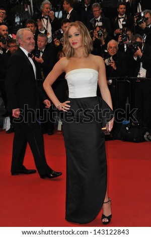 "CANNES, FRANCE - MAY 18, 2013: Jennifer Lawrence at the gala premiere of ""Jimmy P. Psychotherapy of a Plains Indian"" in competition at the 66th Festival de Cannes."