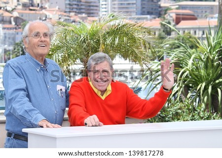 CANNES, FRANCE - MAY 23: Jerry Lewis, Michel Legrand attend the 'Max Rose' photocall during The 66th Annual Cannes Film Festival at the Palais des Festivals on May 23, 2013 in Cannes, France. - stock photo