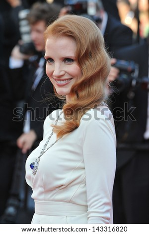 "CANNES, FRANCE - MAY 21, 2013: Jessica Chastain at gala premiere for ""Behind the Candelabra"" at the 66th Festival de Cannes."