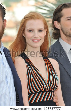 "CANNES, FRANCE - MAY 19, 2012: Jessica Chastain at the photocall for their new movie ""Lawless"", in competition at the 65th Festival de Cannes. May 19, 2012  Cannes, France"