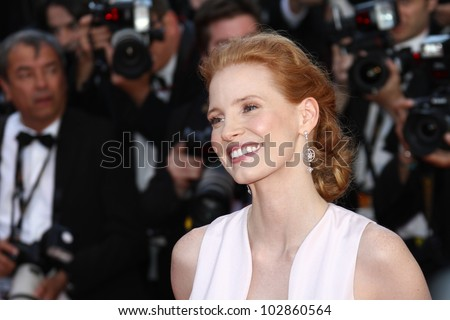 CANNES, FRANCE - MAY 16: Jessica Chastain attends the Opening Ceremony and 'Moonrise Kingdom' premiere during the 65th  Cannes  Festival at Palais des Festivals on May 16, 2012 in Cannes, France.