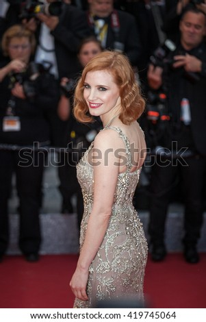 Cannes, France - 12 MAY 2016 - Jessica Chastain attends the screening of 'Money Monster' at the annual 69th Cannes Film Festival at Palais des Festivals - stock photo