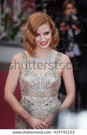 Cannes, France - 12 MAY 2016 - Jessica Chastain attends the screening of 'Money Monster' at the annual 69th Cannes Film Festival at Palais des Festivals