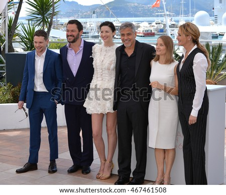 "CANNES, FRANCE - MAY 12, 2016: Jodie Foster & actors Jack O'Connell, Dominic West, Caitriona Balfe, George Clooney & Julia Roberts at the photocall for ""Money Monster"" at the 69th Festival de Cannes."