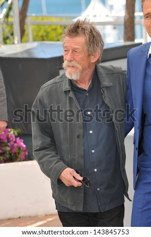 "CANNES, FRANCE - MAY 25, 2013: John Hurt at photocall at the 66th Festival de Cannes for his movie ""Only Lovers Left Alive""."