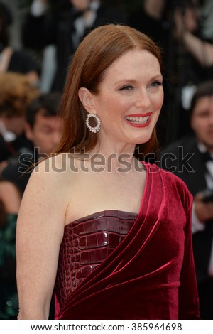 "CANNES, FRANCE - MAY 14, 2015: Julianne Moore at the gala premiere of ""Mad Max: Fury Road"" at the 68th Festival de Cannes. - stock photo"