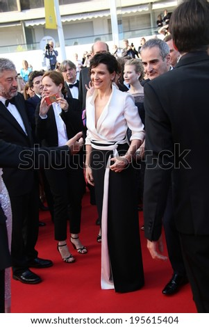 CANNES, FRANCE - MAY 23: Juliette Binoche attend the 'Clouds Of Sils Maria' premiere at the 67th Annual Cannes Film Festival on May 23, 2014 in Cannes, France. - stock photo