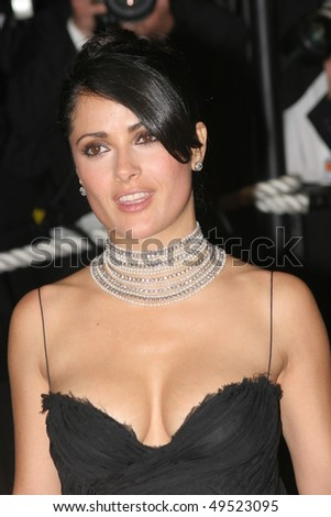 CANNES, FRANCE - MAY 18: Jury member, actress Salma Hayek, attends the screening of 'Sin City' at the Grand Theatre during the 58th International Cannes Film Festival May 18, 2005 in Cannes, France - stock photo