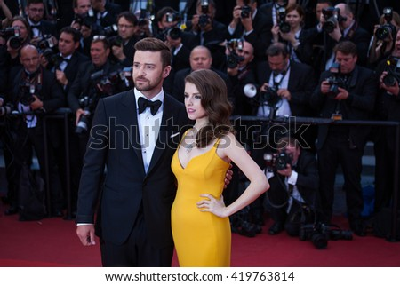 Cannes, France - 11 MAY 2016 - Justin Timberlake and Anna Kendrick attend the screening of 'Cafe Society' at the opening gala of the annual 69th Cannes Film Festival - stock photo