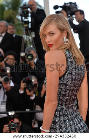 """CANNES, FRANCE - MAY 20, 2015: Karlie Kloss at the gala premiere for """"Youth"""" at the 68th Festival de Cannes. - stock photo"""