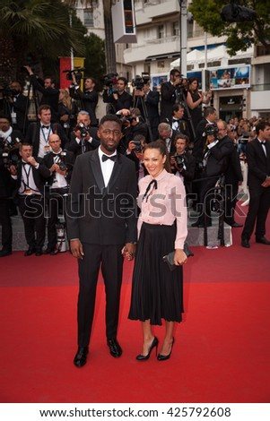 Cannes, France - 22 MAY 2016 - Karole Rocher (R) and Thomas N'Gijol attend the closing ceremony of the 69th annual Cannes Film Festival